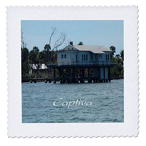 3dRose lens Art by Florene - Florida - Image of Very Famous Painter Rauschenberg Captiva Fish House - 14x14 inch quilt square (qs_309801_5)