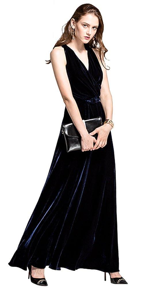 Dark bluee Honeydress Women's Sexy Deep V Neck Backless Keyhole Velvet Long Evening Dress