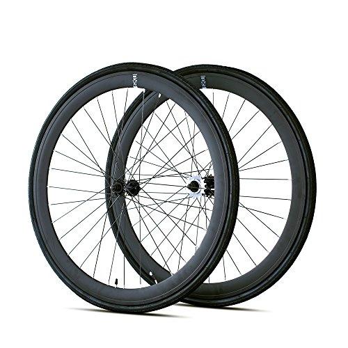 6KU 700C Deep V Alloy Fixie Wheelset, Matte Black