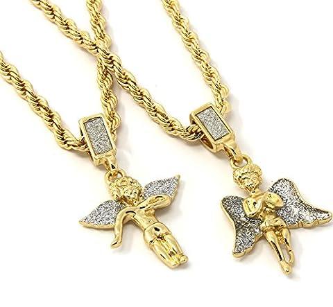 Mens Gold Two Piece Prayer & Side Angel Set Pendant Hip Hop 24
