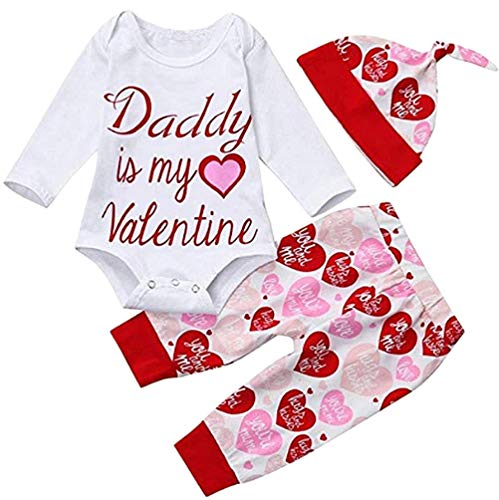 - Baby Girls Valentine's Day Outfits Daddy is My Valentine Romper+Heart Pants+Cap 3Pcs Set Size 18-24Months/Tag100 (White)