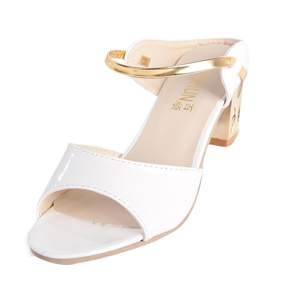 Transer Summer Rough Sandals Woman Open Toe Fish Mouth High Heel Comfortable Shoes (5.5, White)