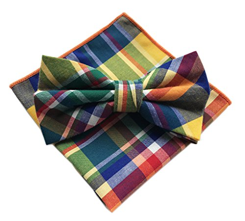 Madras Sport Coat (Elfeves Men's Colorful Bow Ties with Hanky Party Tuxedo Penguin suit Formal Wear)