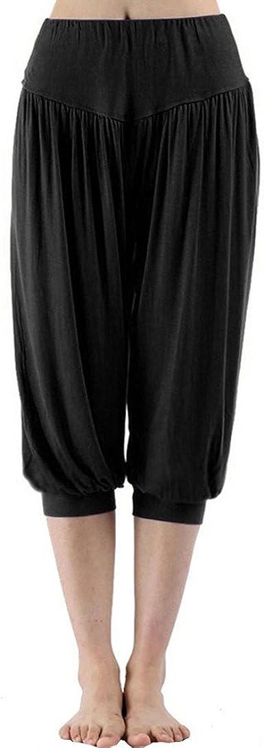 Geilisungren Pantalones de Yoga para Mujer, Cintura Alta Pantalones Deportivos Algodón Modal Harem Pantalón Polainas para Danza Yoga Fitness Pantalones Cortos Pierna Ancha Bombachos Jumpsuit: Amazon.es: Ropa y accesorios