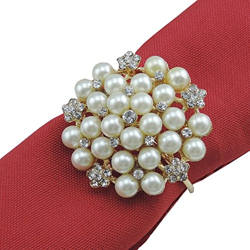 Elinq Pearls Diamond Napkin Ring Handmade Serviette Buckl...