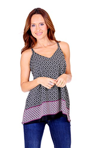 SR Women's Light V Neck Sleeveless Printed Chiffon Loose Fit Tunic Tank Top, 2X, BlackSqu