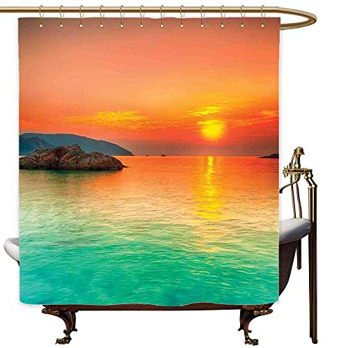 SKDSArts Shower Curtains for Bathroom Waterproof Nature,Sunset Over The Sea Con Dao Vietnam Sunbeams Colorful Sky Reflection on Water,Orange Mint Green,W60 x L72,Shower Curtain for clawfoot tub