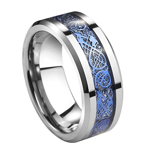 (Queenwish 8mm Tungsten Carbide Ring Silver Meteorite Inlay Blue Celtic Dragon Wedding Bands Size 12)