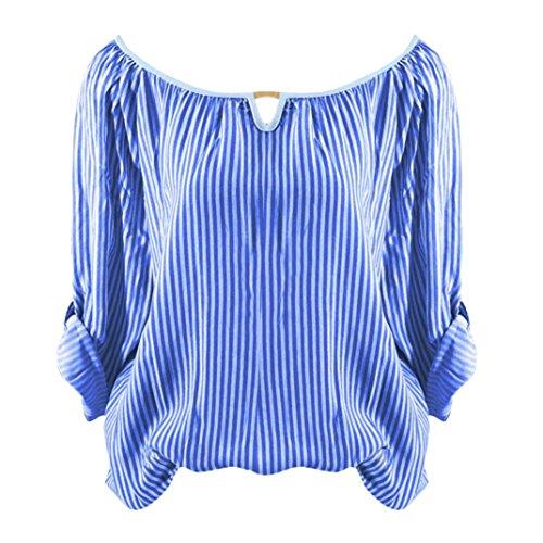 Longues Mode QinMM Ray Automn Bleu Haut up Blouse Pas Ajour Col Femmes XXXXXL Slim Shirt Sexy Manches Grande Dames lgant Chic Roll Cher V S Taille T Pullover Chemisier Tops Manche EWA4q7A