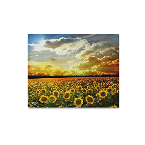 """Canvas Wall Art for Home Decoration Sunset Sunflower Field Canvas Print (Frame Also Included)- Measure Size: 20"""" x 16""""(Large)"""