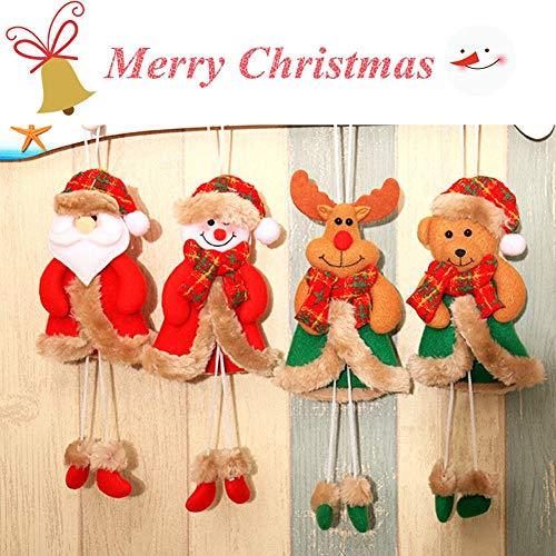 Connie518 Christmas Tree Ornaments Sets, Santa Claus Elk Snowman Bear Christmas Supplies Decoration Pendant for Home 4pcs