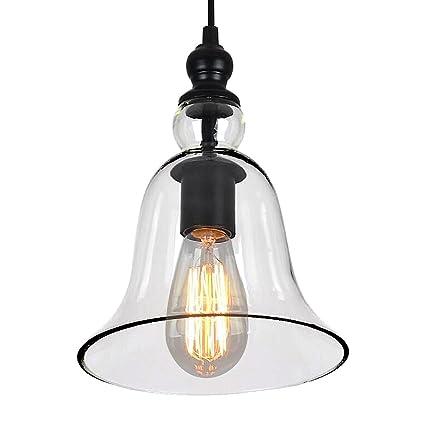 Lámpara de techo, estilo vintage industrial, pantalla de cristal con forma cilíndrica, lámpara de techo, para bar o cocina, negro (E27, no incluye ...