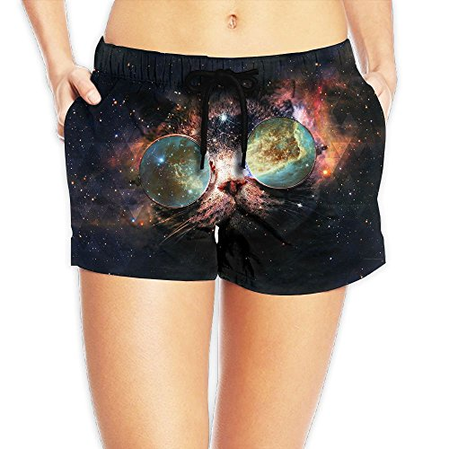 Cool Space Cat Women Beach Shorts 3D Printed Casual Pants Sports Hot Boardshort (Catwoman Costume Simple)