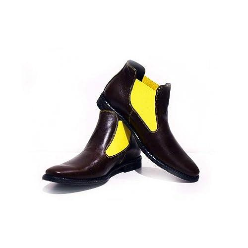 1fa18e2724 Modello Rawena - 46 - Cuero Italiano Hecho A Mano Hombre Piel Marrón  Chelsea Botas Botines - Cuero Cuero Suave - Ponerse  Amazon.es  Zapatos y  complementos