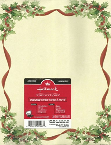 Christmas Holiday Stationary Red Ribbon, Holly and Berries Motif 60 Papers by Hallmark - Christmas Holiday Stationary