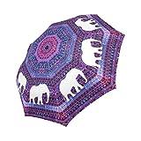WECE Fashion Elephant Auto Folding Umbrella, Space Galaxy Aztec Tribal Design Auto Folding Umbrella Portable Windproof Compact Travel Umbrella Sun Rain Umbrellas