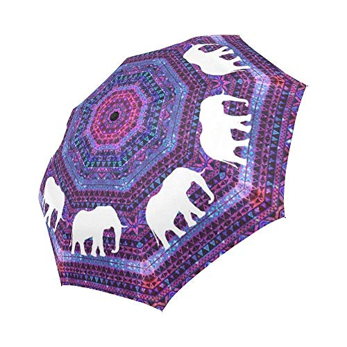 (WECE Fashion Elephant Auto Folding Umbrella, Space Galaxy Aztec Tribal Design Auto Folding Umbrella Portable Windproof Compact Travel Umbrella Sun Rain Umbrellas)