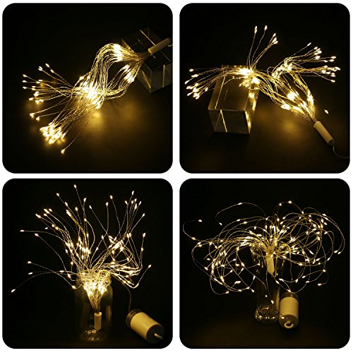 STYDDI LED Starburst Fairy String Lights, 8 Modes 150 LED Firework Spray Bouquet Shape Battery Operated Decorative Lights with Remote Control for Bedroom, Corridor Patio, Garden, Patio, Wedding, Part by STYDDI (Image #4)