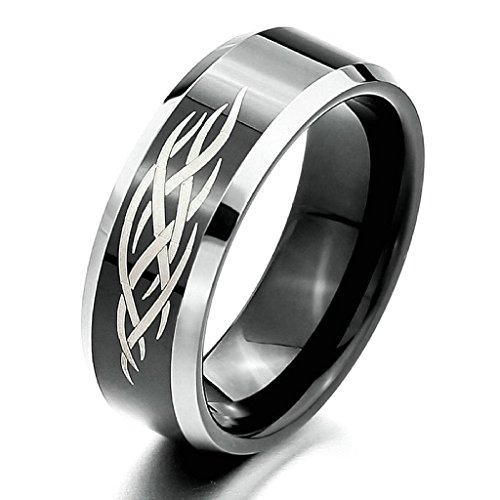 - Gnzoe Jewelry, Mens 8mm Tungsten Rings Band Silver Black Tribal Design Charm Elegant Size 9