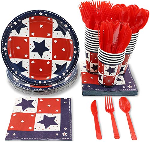 Patriotic Party Supplies - Serves 24 - Includes