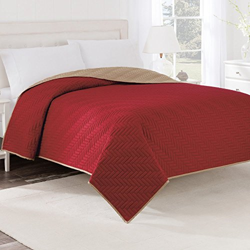 Martex Two-Tone Solid Color Reversible Quilt, Coverlet, Bedspread - Textured with Intricate woven quilt stitch detailing - Khaki Beige Reversible to Red, Twin
