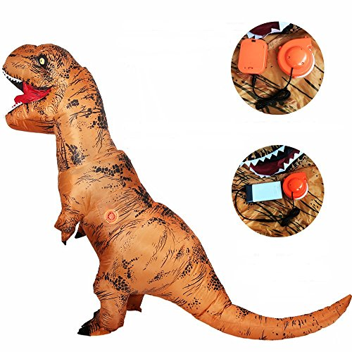 Free Grade 2 Blower Fan T-Rex Dinosaur Inflatable Adult Trex Costume Blow Up Suit For Halloween Jumpsuit(One Size (Free People Halloween Costume Ideas)