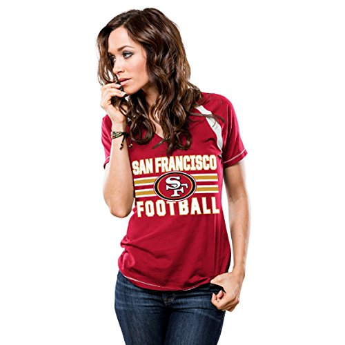 Majestic Athletic San Francisco 49ers Womens Day Game Red V-Neck T-shirt X-Large (Majestic Athletic V-neck Shirt)