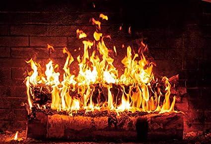 Pared de ladrillo Chimenea Fuego de Madera Llama ardiente Fotografía Telón de Fondo Retrato de bebé Fondo fotográfico Estudio fotográfico Photocall A20 10x7ft / 3x2.2m