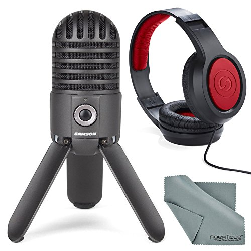 Photo Savings Samson Meteor Mic Studio USB Condenser Microphone Kit with Headphones and Fibertique Cleaning Cloth (Titanium (Samson Condenser Musical Instruments Microphones)