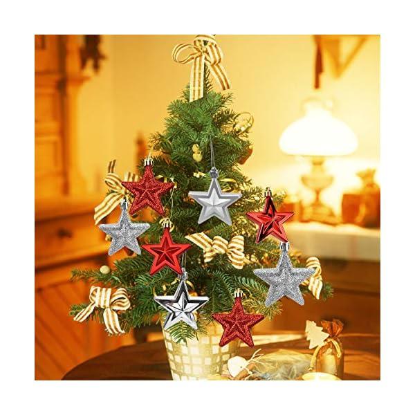Jinlaili Ornamenti per Albero di Natale, 6 Pz Palline Decorazioni Natalizie, Stella Decorazioni Natalizie Appese Plastica, Palla di Natale Rosso Argento, Addobbi Natalizi Natale 7 x 7 x 3 cm (Argento) 4 spesavip