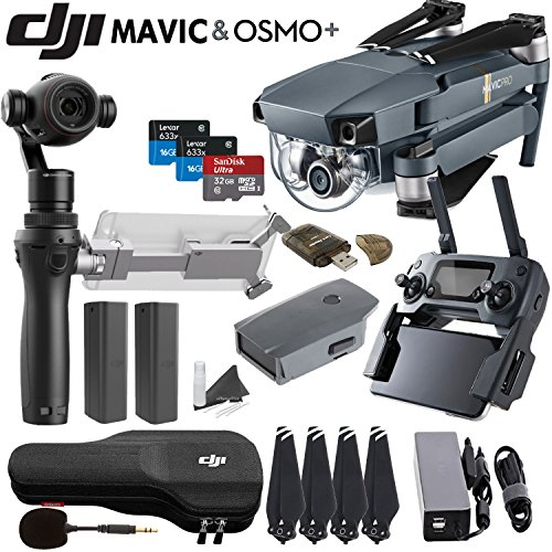 DJI-Mavic-Pro-Collapsible-Quadcopter-Osmo-Plus-Combo-Includes-Spare-Osmo-Batteries-SanDisk-32GB-MicroSD-Card-and-more