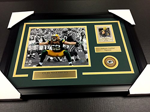 (CLAY MATTHEWS AUTOGRAPHED CARD AUTO FRAMED WITH 8X10 PHOTO GREEN BAY)