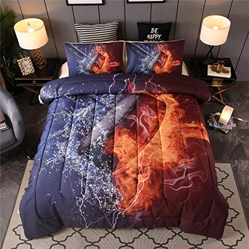 En-man Home Ice Hockey Comforter Set Boys Teens Sport Fans Puck Hockey Stick Quilted Bedding Set Bedspread Full Size(ice Hockey) (Comforter Hockey Full)