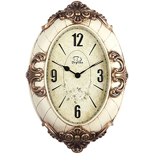 20-inch Large Size Oval-shaped Living Room Wall Clock Silent Sweep Second Quartz