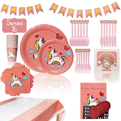 Horn Plate - Unicorn Party Supplies Set for Girls - Birthday Party Supplies Set Serves 16   Plates, Napkins, Cups, Tableware, Tablecloth, Banner   Bonus Pin the Horn on the Unicorn Party Game