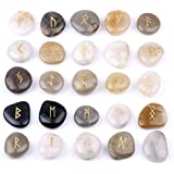 Rune Stones Set with Engraved Elder Futhark Alphabet and Velvet Pouch TGS Gems