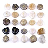 TGS Gems Rune Stones Set with Engraved Elder Futhark Alphabet and Velvet Pouch