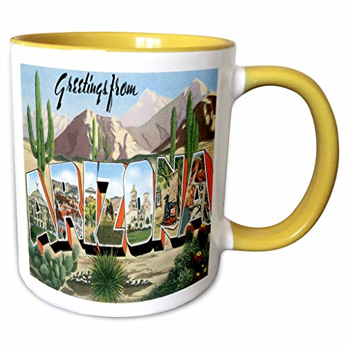 3dRose BLN Vintage US Cities and States Postcards - Greetings From Arizona Desert Scene with Large Letters Containing City Scenes - 11oz Two-Tone Yellow Mug (mug_160719_8) (Scene Large Mug)