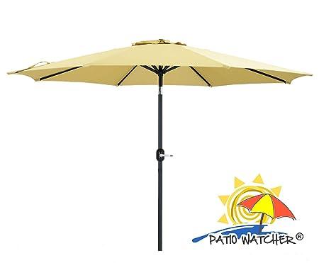 Patio Watcher 11-ft Patio Umbrella 8 Ribs Outdoor Table Umbrella with Push Button Tilt and Crank for Market, Garden, Yard, Pool, Deck Beige
