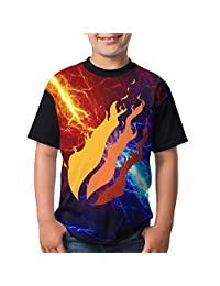 Youth Video Preston Fire Nation Playz Gamer Flame Boys and Girls Print T-Shirts