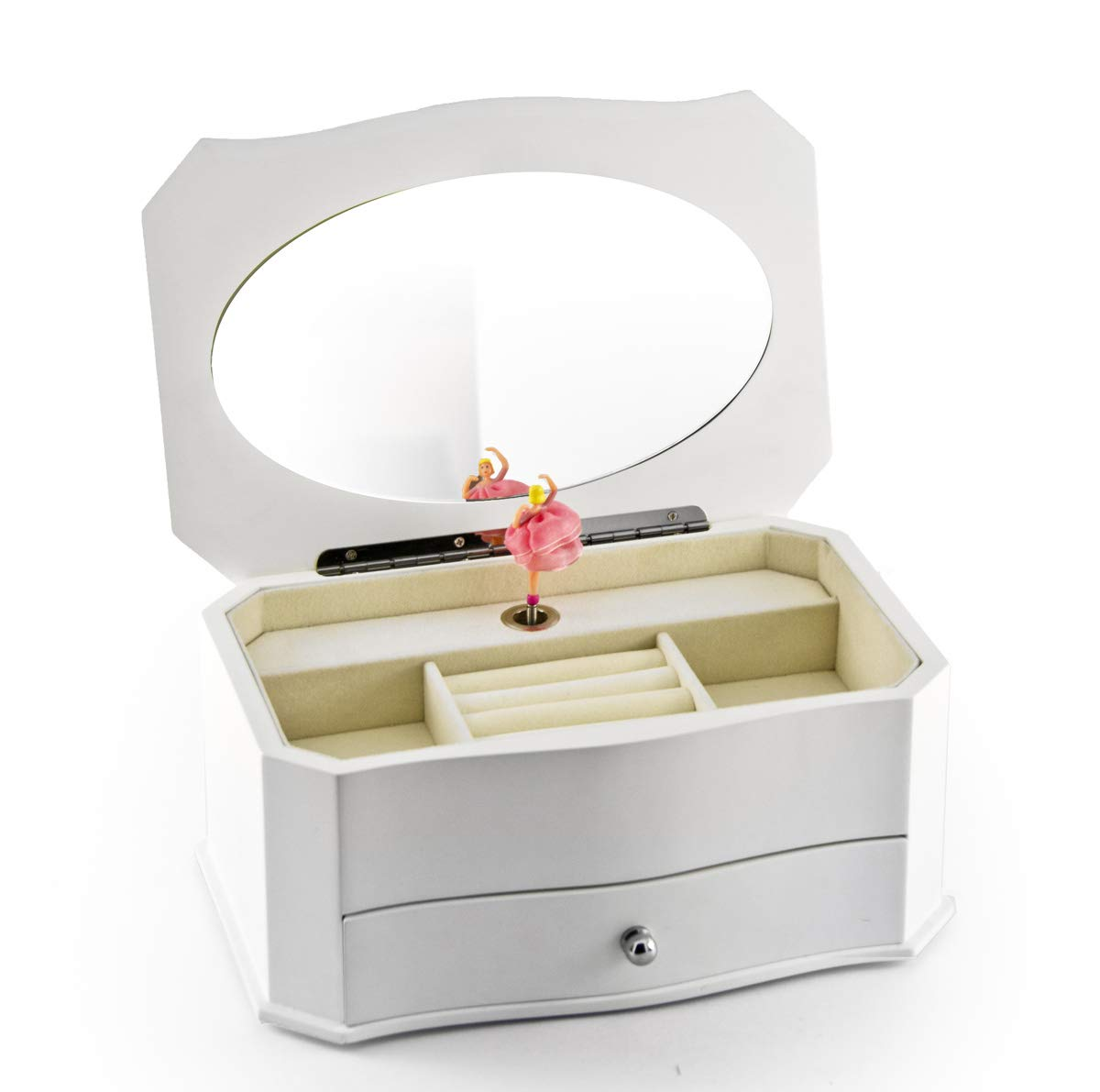 Spacious Matte White 18 Note Ballerina Musical Jewelry Box with Mirror - Over 400 Song Choices - Amazing Grace, Judy Collins