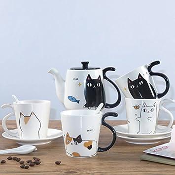 LOYWT gatos, juegos de té, tazas de café, cerámica, Familia, gatitos lindos japoneses, Copas y hervidores de agua, D: Amazon.es: Hogar