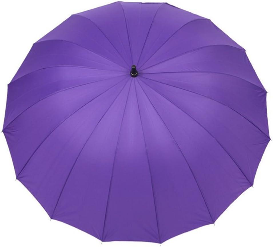 Color : Purple, Size : Double AIYAMAYA 16 Bones Reinforced Weatherproof Umbrella Alloy Automatic Umbrella Long Handle Umbrella