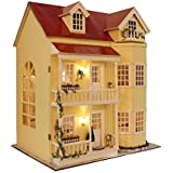DIY Wooden Dollhouse Miniature Kit W/LED Large Village & All Furnitures by Youku