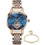 Female Watches for Women on Sale Automatic Mechanical Movement Stainless Steel Rose Gold Luxury Dress Ladies Wrist Watch Waterproof Crystal Rhinestone Dial Blue face Bracelet and Watch Set for Women