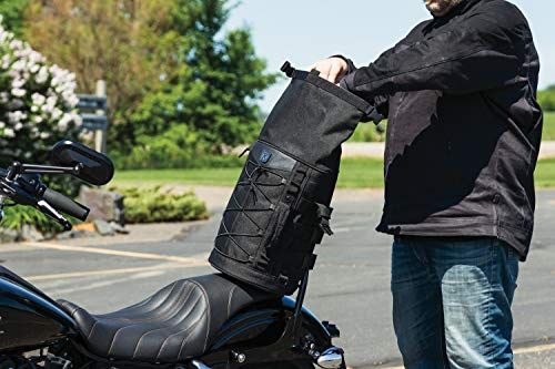 Bar Bag Sissy Travel - Kuryakyn 5223 Momentum Deadbeat Expandable Motorcycle Travel Luggage: Weather Resistant Duffle Bag with Sissy Bar Straps, Black