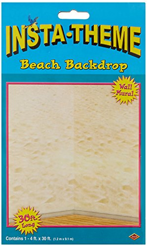 Beach Backdrop Party Accessory, 30 ft by 4 ft (1 count)