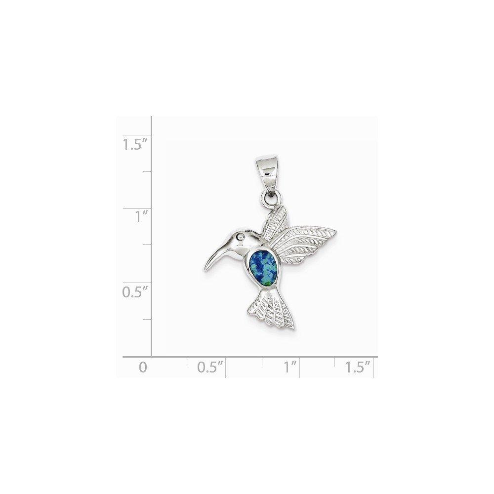 Diamond2Deal 925 Sterling Silver Blue Inlay Created Opal Hummingbird Pendant