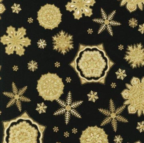Robert Kaufman 'Holiday Flourish' Snowflake Medallions on Black Cotton Fabric - 3yds 2in