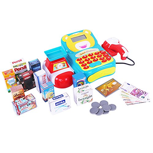 Cash Register Toy  Supermarket Pretend Play Electric Calculator Money Register Early Learning Centre Toy Set For Kids